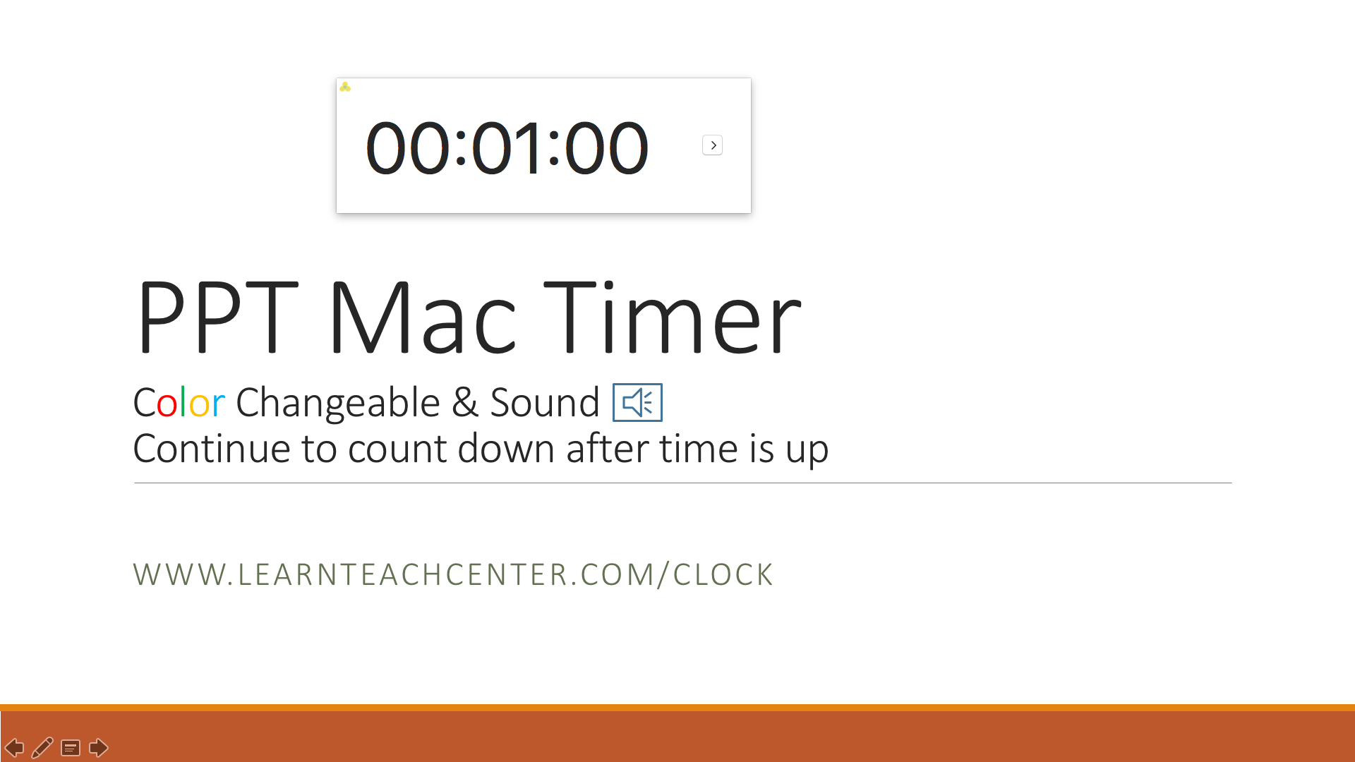 PPT Mac Timer Color Changeable, Sound, Countdown extra time