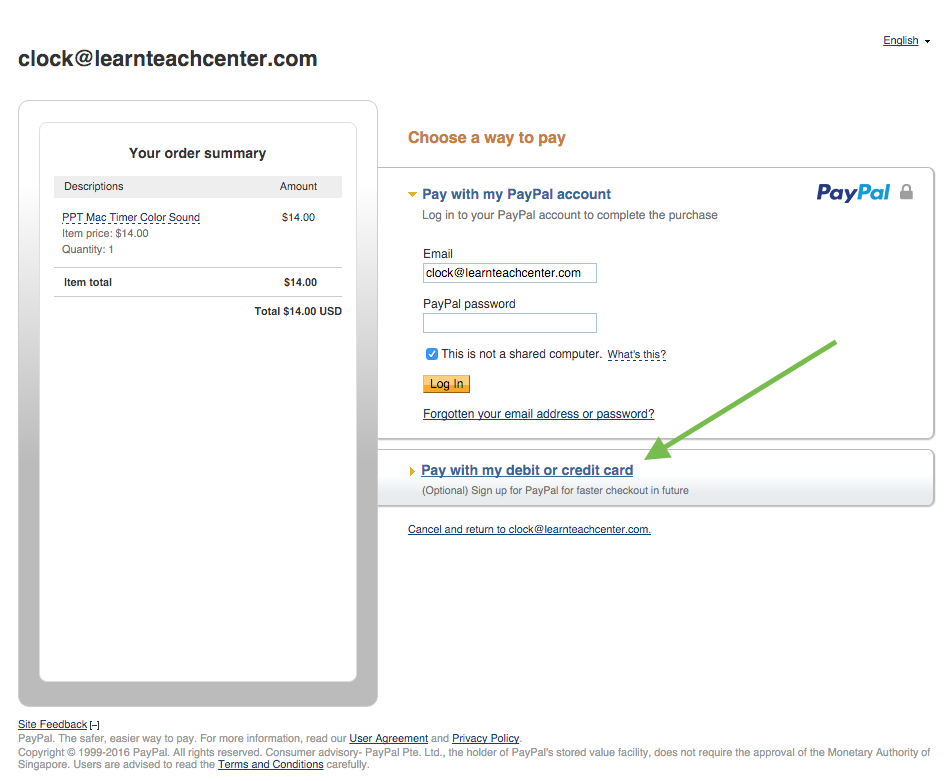 Pay with a credit card or debit card on PayPal